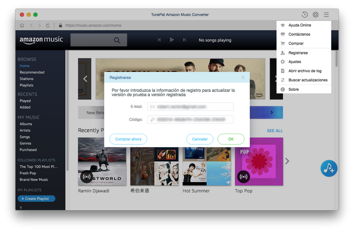 registrar amazon music converter para mac